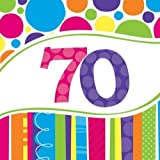Creative Converting Bright and Bold 70th Birthday Lunch Napkins (Value 54-Count)