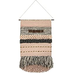"Primitives by Kathy Inspire Decorative Wall Hanging, Handmade Woven Macrame, Textured Fringe Tassel Banner, Textile Wall Art, Boho Decor, Cotton Fiber, 14"" x 23"""
