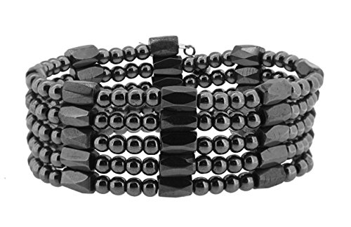 - Mandala Crafts Gunmetal Magnetic Simulated Hematite Beaded Necklace, Wrap Bracelet, Anklet