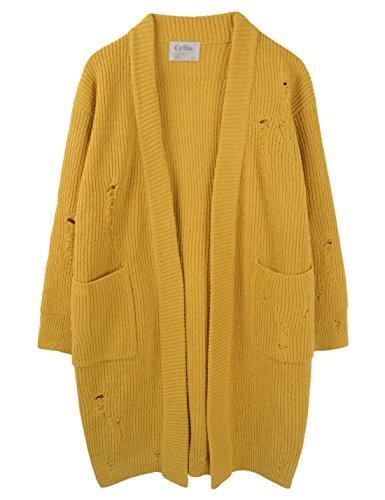 [해외]CELLO Mens Unique Style 오픈 프론트 데미지 니트 롱 가디건/CELLO Mens Unique Style Open Front Damage Knitted Long Cardigan