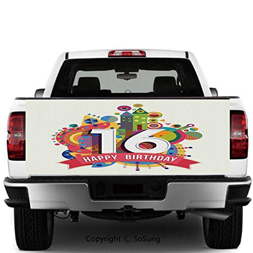 SoSung 16th Birthday Decorations Vinyl Wall Stickers,Geometric and Urban Effects Celebration Funky Modern Artsy Design Cars Trucks Decorative Decal Sticker,55x15 Inches,Multicolor]()