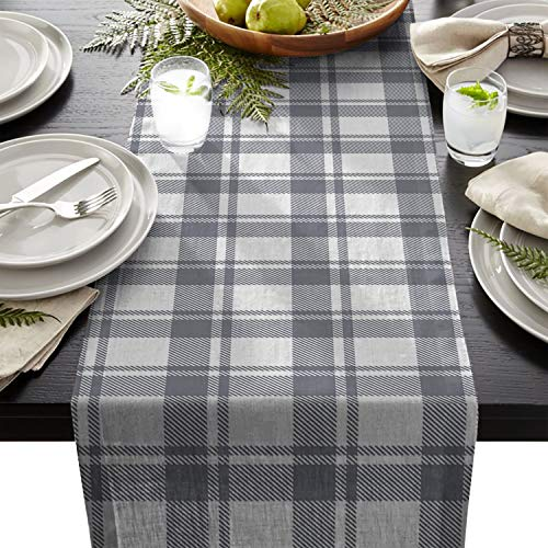 (Linen Burlap Table Runner Dresser Scarves, Classic Vintage Scottish Plaid Kitchen Table Runners for Dinner Holiday Parties, Wedding, Events, Decor - 13 x 70 Inch)