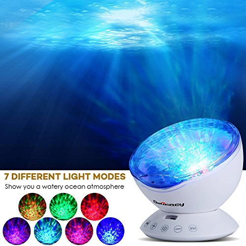 Delicacy Ocean Wave Projector 12 LED Remote Control Undersea Projector Lamp,7 Color Changing Music Player Night Light Projector for Kids Adults Bedroom Living Room Decoration by Delicacy (Image #2)