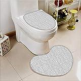 vanfan Bathroom Non-Slip Heart shaped foot pad Set Floral Motifs Arabian Islamic Patterns in Mod Oriental Personalized Durable