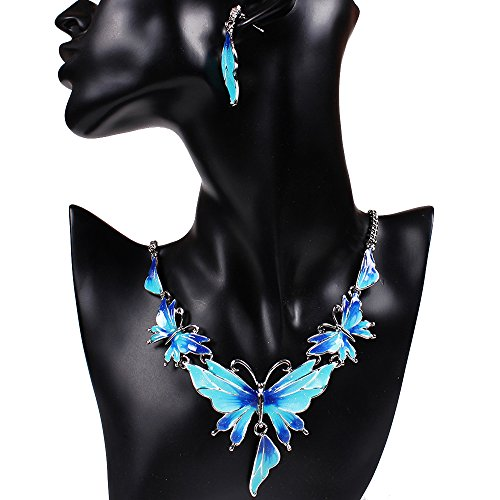 [SDLM Acrylic Butterfly Costume Jewelry Charm Pendant Collar Necklace Stud Earrings Set(b)] (Leo Johnson Costume)