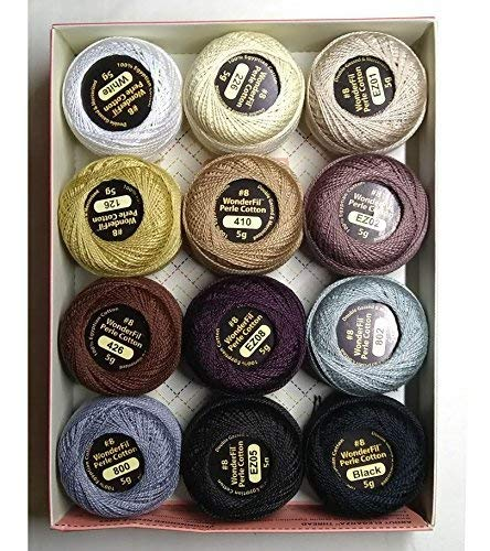 (Wonderfil Eleganza #8 Perle Cotton Embroidery Thread Sampler Collection,