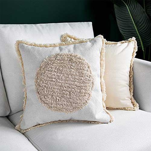 blue page Cream Throw Pillows Cover Tufted Tassel Sofa Couch Cushion Cover, Tribal Pillow Cases Decorative Square Cotton Pillows Cover ONLY, Boho 18x18 Pillow -