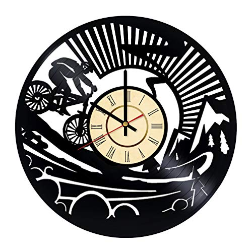 Downhill Mountain Bike Vinyl Clock Gift for Bicycle Fans Redding Sports Wall Decor Off-Road Cycling Art Xtreme Handmade Living Room Artwork (Bicycle Chain Art)
