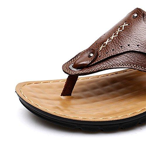 de color hombre Sandalias talla EU para LANKUO 41 marrón Piel f1OHvvWT