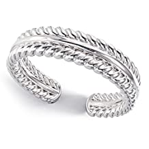 Sterling Silver Double Rope Adjustable Toe Band Ring