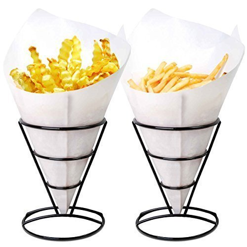 Appetizer Wire Cone Basket - 1 X 2 French Fry Stand Cone Basket Holder by Cobble Creek for Fries Chips Appetizers