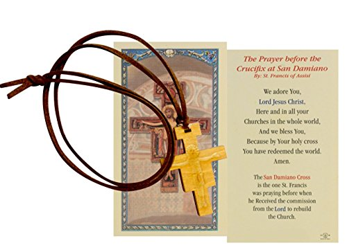 Gifts by Lulee, LLC San Damiano Cross Crucifix Brown Leather Corded Necklace with Carved Image in Center and Free Hc