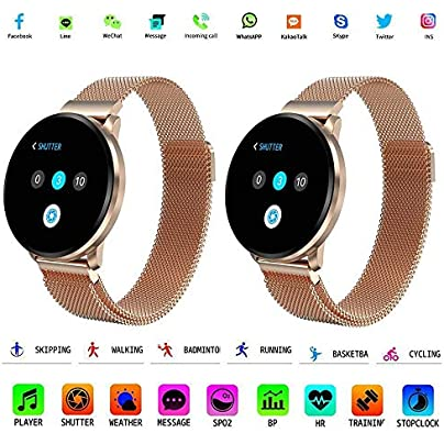 HuaYangNanHai Activity Tracker 1 22 IPS Color Screen Smart Wristband IP67 Waterproof Support Call Reminder Heart Rate Blood Prussure Monitor Gold Estimated Price -