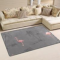 LORVIES Pink Flamingo Area Rug Carpet Non-Slip Floor Mat Doormats for Living Room Bedroom 60 x 39 inches