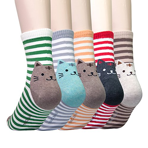 KONY 5 Pack Women's Cute Animal Socks Cotton Cat Dog Duck Patterned Novelty Fun Crew Socks Gift Size 6-9 (Striped Cats) ()