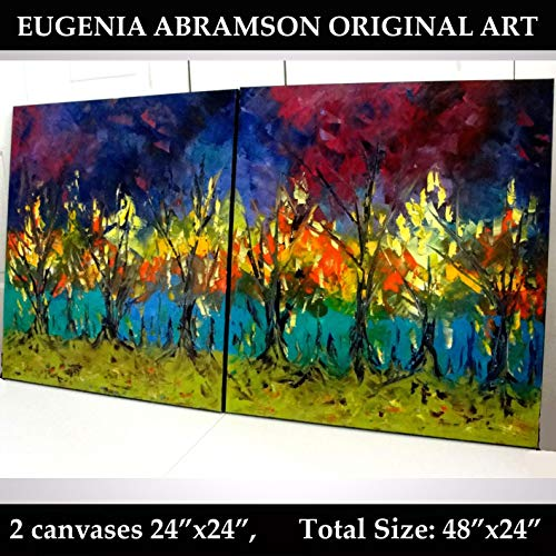 AUTUMN LANDSCAPE Original Oil Palette knife texture Painting on Stretched Canvas Modern wall art 48x24 hand painted by Eugenia Abramson