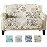 Great Bay Home Patchwork Scalloped Stain Resistant Printed Furniture  Protector Brand. (Loveseat, Taupe
