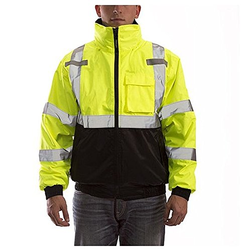 Tingley Bomber 3.1 Jacket - Type R Class 3 - Fluorescent Yellow Green Black - Silver Reflective Tape - Polyester Quilted Liner - Attached Hood