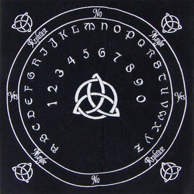 Embroidered Black Cloth Celtic Triquetra Power of Three Pendulum Mat Celtic Pendulum