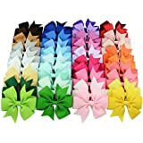 HeeBin 40Pc Baby Girl Grosgrain Ribbon Boutique Hair Bows, Hair Bows for Girls and Baby, 2Pc Bow Hanging Holders as A Gift