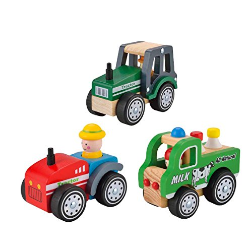 KIDS TOYLAND Wooden Kid's Farm Toy Vehicles Play Set of Toy Green Tractor+Toy Milk Car+Toy Red Tractor (3 Assistant Farm Car)