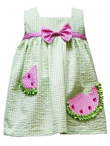 Rare Editions 2 Piece Set & Accessory Toddler Girls Seersucker Watermelon Dress ()