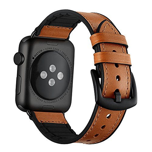 Sweatproof Hybrid Leather Sports Watch Band Vintage Replacement Bands for Apple Watch iwatch Series 1 2 3 4 Brown Replacement Straps with Black Stainless Steel Buckle Clasp(Brown(black?, 42mm/44mm)