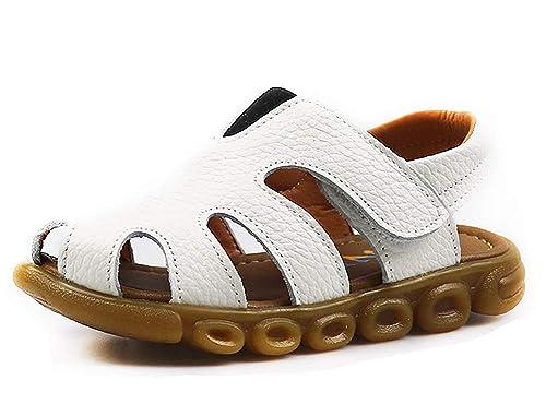 2d6704b319b4c CCZZ Sandales Bout Fermé Mixte Enfant Confortables Sandales en Cuir Filles  Garçons Beach Sandales