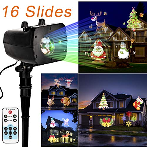 GIGALUMI Christmas Lights Projector - 2018 Newest Version 2-in-1 Waterproof Bright Led Landscape Lights for Halloween, Xmas, Indoor Outdoor Party, Yard Garden Decoration. (16 Slides) ()