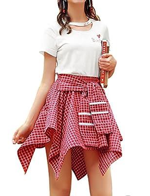 MG & Fashion Women High Elastic Waist Plaid School Skirt Skater
