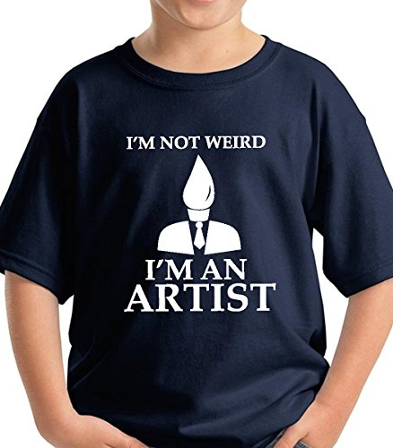 Kids I'm not weird funny youth premium short sleeve tshirt gift wrapped (Navy, Medium)
