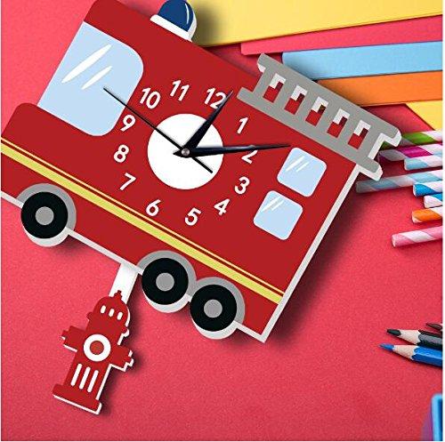 Sportskindom American fire truck wall clock Slient quartz wall clock children's background wall cartoon decoration (1) by Sportskindom (Image #3)