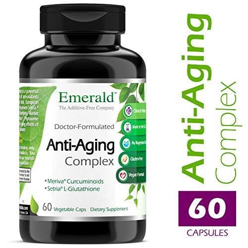 51TwBCX89wL - Anti-Aging Complex - with L-Glutathione, Resveratrol, CoQ10, R-Alpha Lipoic Acid, Meriva, Pomegranate, & More - Emerald Laboratories (Rainforest) - 60 Vegetable Capsules