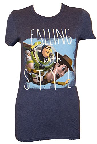 Toy Story Falling With Style Juniors T-shirt (Extra Large,Navy) (Toy Story T Shirt)