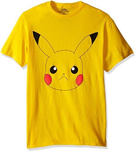 Pokemon Men's Pikachu Big Face Short Sleeve T-Shirt, Yellow -