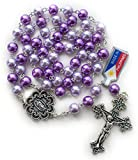 Big A Solutions Rosary Beads Catholic - Rosario - Handmade - Blue Rosary - Purple Rosary - Pink Rosary - Imitation pearl - FREE velvet pouch - Catholic gift idea gift