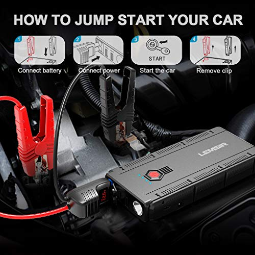 LEMSIR QDSP 1500A Peak Portable Car Jump Starter 12V Auto Battery Booster up to 8.0L Gas or 6.2L Diesel Power Pack with Smart Jumper Cables V2 by LEMSIR (Image #5)