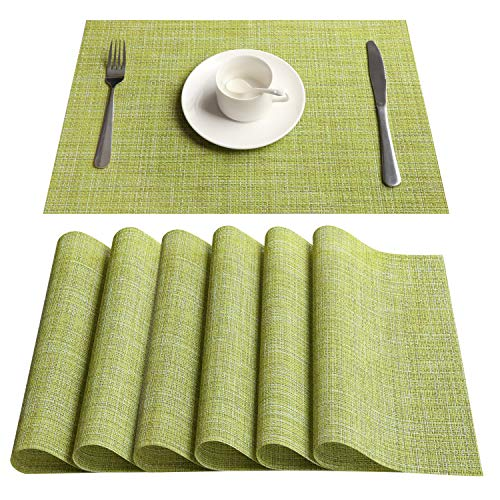 Top Finel Placemats,Vinyl Table Mats Set of 6,Heat Resistant Place Mats for Dining Table Washable Anti-Skid,Green