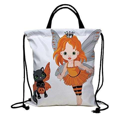 3D Print Drawstring Bag String Backpack,Halloween,Halloween Baby Fairy and Her Cat in Costumes Butterflies Girls Kids Room Decor Decorative,Multicolor,for Travel Gym School Beach