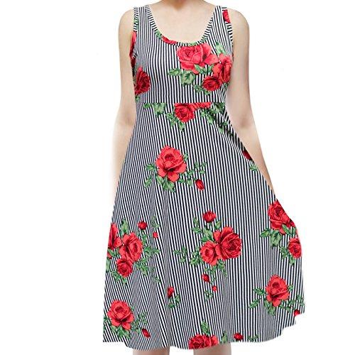 ShopMyTrend SMT Women's Sleeveless Flowy Midi Summer Beach A Line Tank Dress Small Striped Black Red Rose -