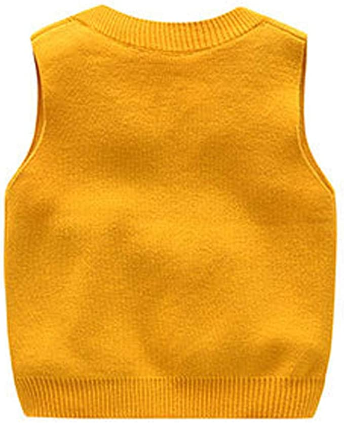 Happy childhood Baby Toddler Boys Solid Color V Neck Sweater Vest Sleeveless Pullover Knitted Waistcoat Navy 90