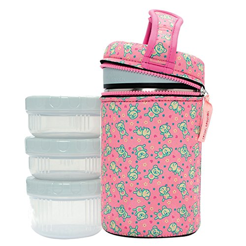 Laken Thermo 50 Ounce Vacuum Insulated Food Jar, Stainless Steel + Neoprene Cover + 3 PP Containers, Katuki Saguyaki, Flying Teddys Pink by Laken