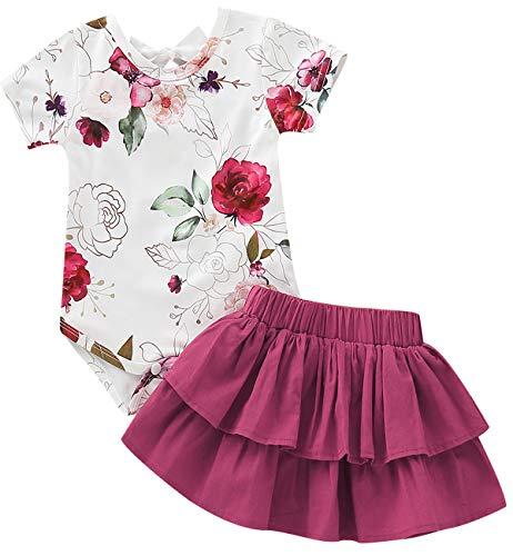 (TrulyBee Baby Girls Red Floral Print Skirt Sets Strapless Shoulder Rose Bodysuit for Sunmmer (Red,6-12 M))