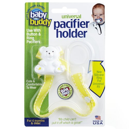 Baby Buddy Universal Pacifier Holder Clip - Snaps to Paci or Attach with Universal-Fit Silicone Ring - Pacifier Clip for Babies 4+ Months/Toddler Boys & Girls, Yellow with White Stitch ()