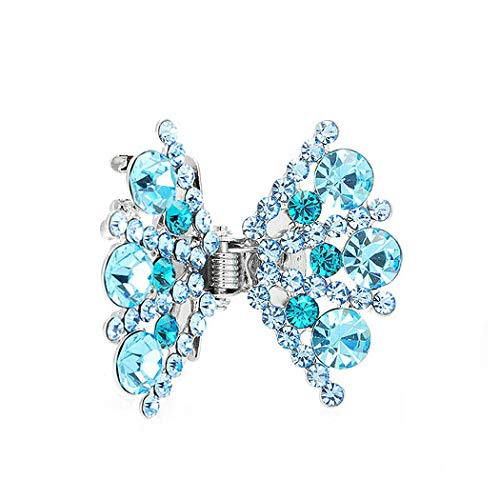 Glamorousky Bow Hair Clip in Light Blue Austrian Element Crystals (926)
