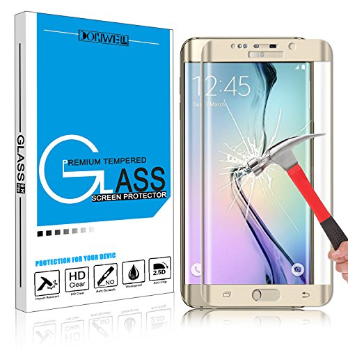 Samsung Galaxy S6 Edge Plus Screen Protector, DONWELL Full Screen Coverage Tempered Glass Screen Protector for Galaxy S6 Edge+/SM-G928 [3D Curved] [Edge to Edge] [HD Clear] [Bubble Free] [1 PACK GOLD]