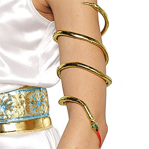 Golden Goddess Egyptian Costume (Amscan Gracious Gods and Goddess Snake Armband Party Accessory, Gold, One Size)