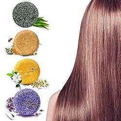 Hair Shampoo Bar, Hair Soap, 4 Pcs Solid Shampoo Soap Plant Essence for Dry, Oily & Damaged Hair, Helps Stop Hair Loss and Promotes Healthy Hair Growth (Lavender, Jasmine, Honey, Bamboo Charcoal)