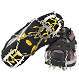 BeyondEC Ice Grippers, 2018 Lightweight 18 Teeth Walk Traction Cleats Ice Snow Grips Anti Slip Stainless Steel Spikes Crampons for Footwear (M)