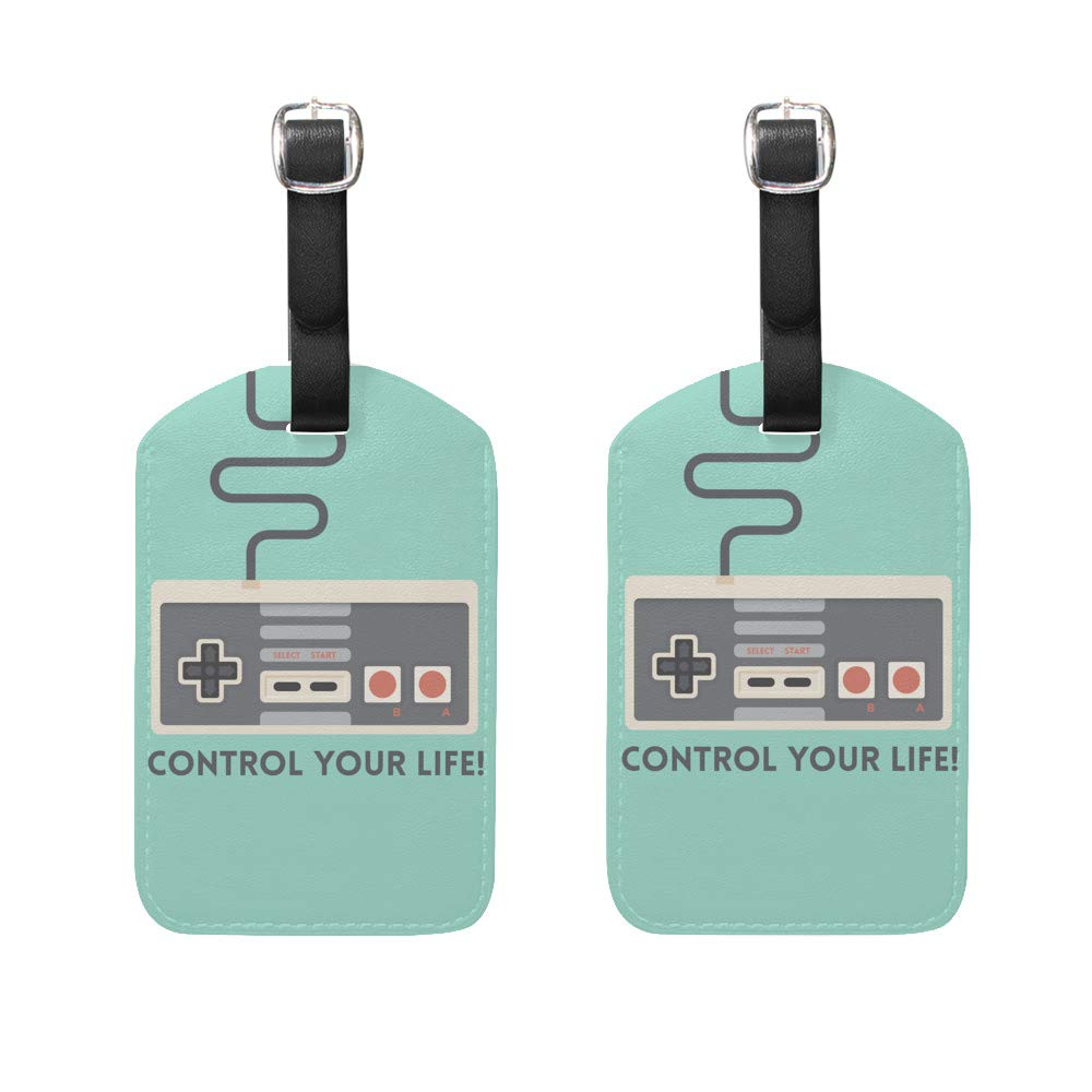 Luggage Tags PU Leather Tags Suitcase Labels Travel Bag With Privacy Cover Control Your Life Vintage Game Joystick Creative Pattern Printing 1pcs